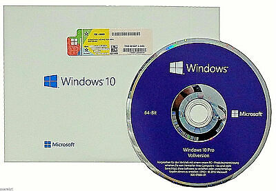 Windows 10 Professional 64Bit CD + Win 10 Pro COA OEM Key + versiegelt NEU