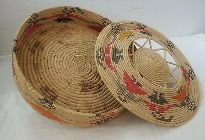 Very Unique Vintage 1965-75 Cultural Pictorial Hand Coiled Basket Bowl with Lid