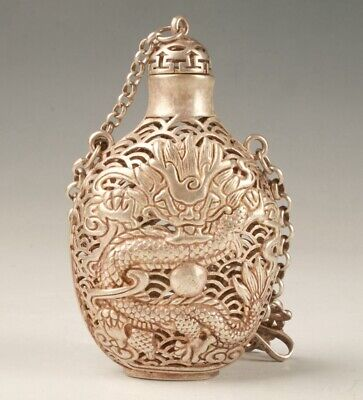 OLD TIBETAN SILVER CARVING DRAGON STATUE SNUFF BOTTLE HOLLOW PENDANT STATUE  hh5