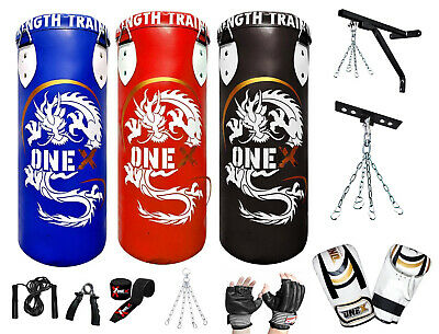3FT Punch Bag MMA Gym Training Kick Boxing Gloves Pad Strike Filled Heavy Duty