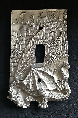 Pewter Silver Gothic Dragon Castle Moon Stars Metal Light Switch Plate Cover