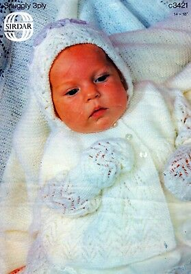 ~ Sirdar Baby Knitting Pattern For Jacket, Bonnet, Mitts, Bootees & Shawl ~
