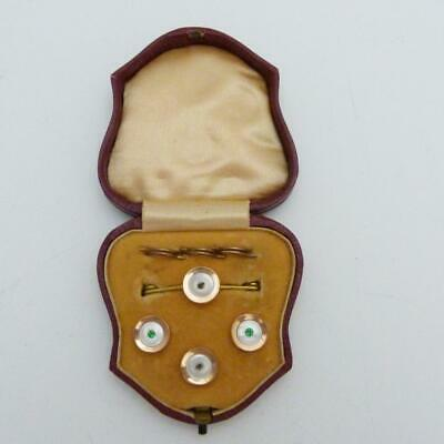 SET 19th CENTURY ROSE GOLD & MOTHER OF PEARL SHIRT STUDS & TIE PIN ORIGINAL CASE