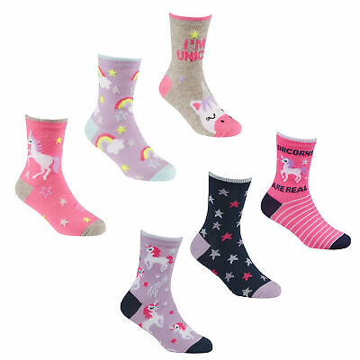 Girls 6 Pairs Unicorn Theme Cotton Rich Socks ~ UK 6 - 3.5