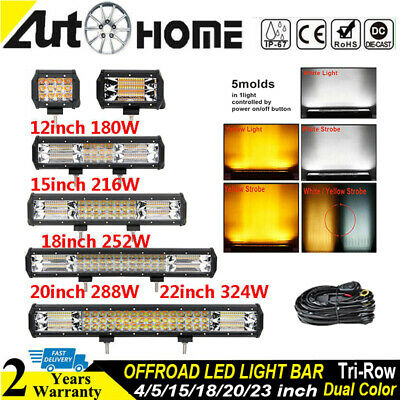 White Amber Dual Color LED Work Light Bar 5/12/15/18/20/22 inch Driving Offroad