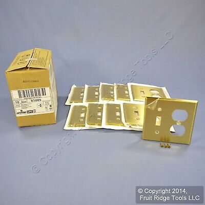 10 Leviton 2-Gang Satin Brass Switch Receptacle Outlet Cover Wallplates 81005