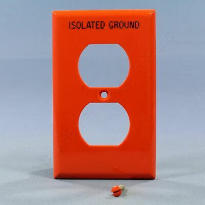Eagle 1G Unbreakable Orange ISOLATED GROUND Duplex Receptacle Wallplate IG5132RN