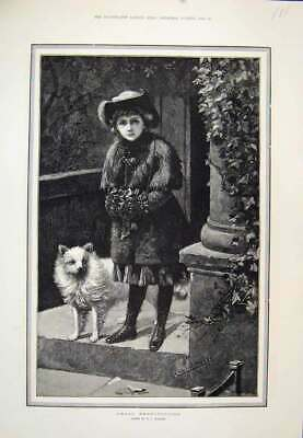 Original Old Antique Print Great Expectations Girl Dog Waitng 1883 Victorian