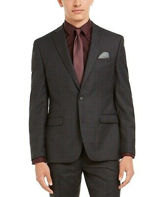 $425 Bar III Men's Slim-Fit Gray Plaid Suit Jacket 44L Sport Coat