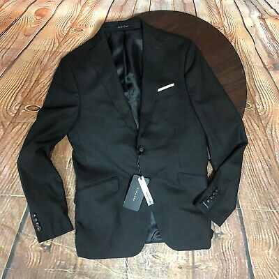 Zara Man Essential Black Suit Jacket With Pocket Square Size US 38 NWT