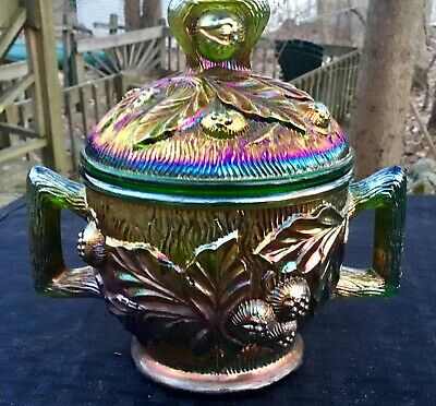 "Carnival Awesome Signed Northwood Green Acorn Burr Lidded Sugar  ""Super  Color"""