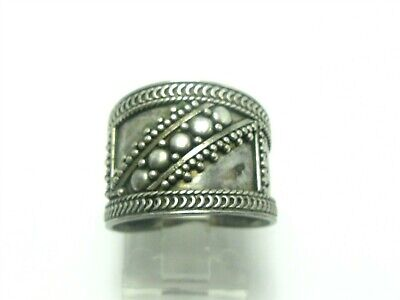 Estate Sterling Silver Beaded Wide Band Ladies Ring 4.2g
