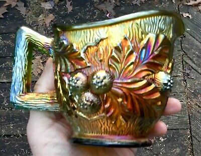 "Carnival Magnificent Signed Northwood Green Acorn Burr Creamer  ""Nice  Color"""