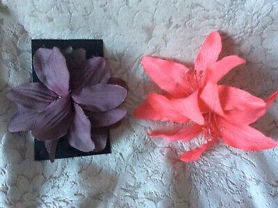 Two Lovely Flowers For Hair Or Clothing - Like Fascinator Pink & Mauve New H&M