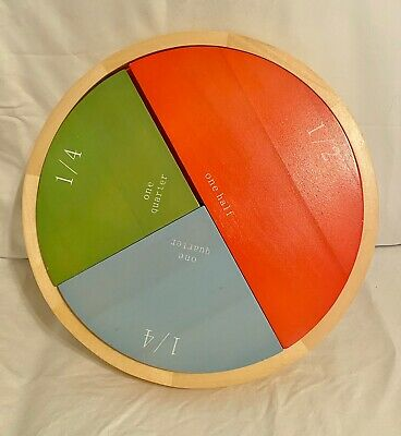 Pottery Barn Kids Wooden Fraction Puzzle Math Elementary Tri-Level Hands-On