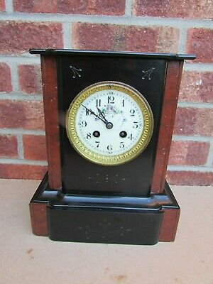 French Black Slate and Rouge Marble Striking Mantle Clock C1890.