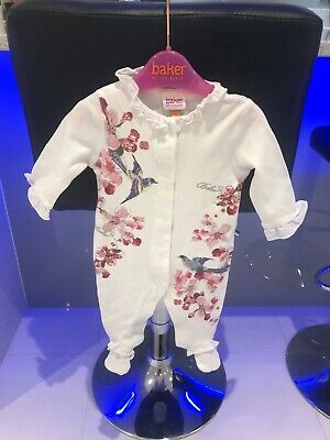 BAKER by Ted Baker ~ Babies Floral Babygrow ~ 0-3 mths ~ White ~ Exc. Condition