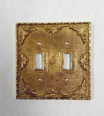 Vintage Victorian Style Heavy Hammered Brass Double Light Switch Cover Plate