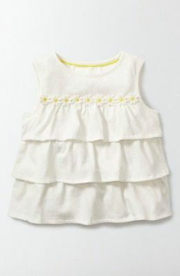 Mini Boden Girl's Ivory Ruffle Top with Daisy Embroidery  Size 7 8 yrs NWT