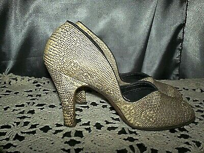 VTG 1940s 40s Shoes Heels Size 6-7 Peep Toe snake skin leather WW2 Marva pin up