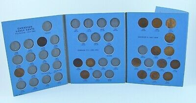 Lot of 17 1876 to 1920 Canadian Large Cent Coins in Whitman Folder