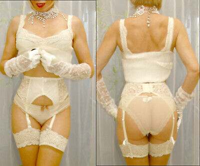 Vintage 80's beautiful pleated suspender & matching camisole top cream/ivory