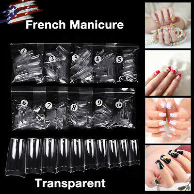 500 Artificial French False Acrylic Nail Tips Clear 10 Sizes Full Cover Nail Art