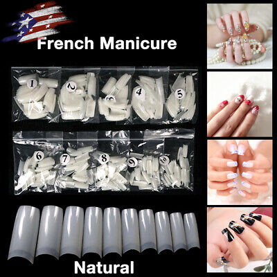 500 Artificial French False Acrylic Nail Natural Color Full Cover Tips 10 Sizes