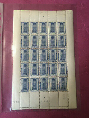 Timbres France feuille N° 666 Cathédrale Beauvais x 25 1944  N**/MNH SHEET