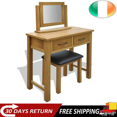 Solid Oak Wood Dressing Table with Stool Mirror Desk 2 Drawers Makeup Table Unit