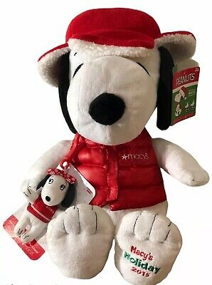"""Peanuts Snoopy Macy's 2015 Holidays Christmas Plush 18"""" Stuffed Toy + Belle"""