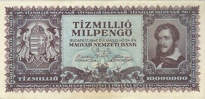 1946 10 Trillion Pengo Hungary Currency Large Banknote Note Money Bank Bill Cash