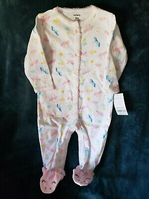 Carter's Baby Girl footed sleep n play 6 months NWT white Unicorns snap up