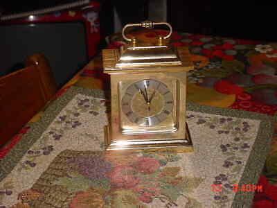 Solid Brass Waltham Carriage style clock with alarm quartz movement tested works