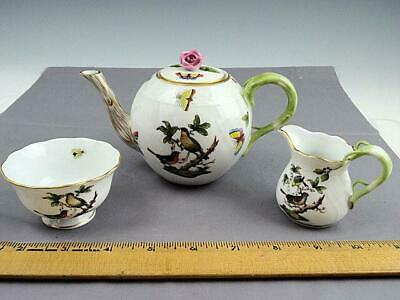 Rare Herend Rothchild Bird Small Tea Set For One Teapot Sugar Creamer