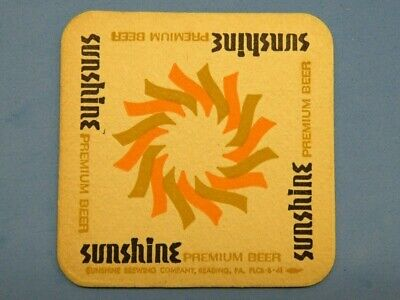Vintage BEER COASTER ~ SUNSHINE Brewing Co Premium Beer ~ Reading, PENNSYLVANIA