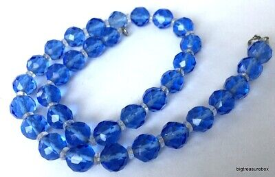 Vtg ANTIQUE Necklace Blue Glass Crystal Bead Victorian or Art Deco Jewelry lot n