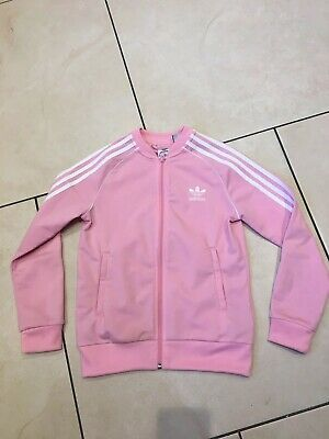 Pink Addidas Zip Fronted Tracksuit Top Age 9-10 Years