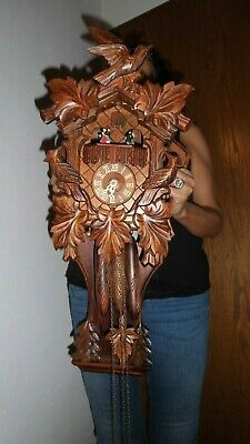 xl vintage original black forest musical cuckoo clock with  carillon 2 melodie