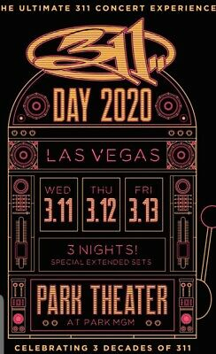 311 Day 2020 Las Vegas Single/One Ticket Sec. 204 Row D Front Row! All 3 Nights.