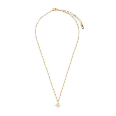 Compass North Star Gold Tone 16 inch Brass Metal Chain Pendant Necklace