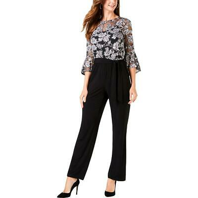 NY Collection Womens Black Metallic Floral Print Jumpsuit Petites PXS BHFO 5727