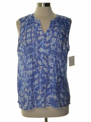 NY Collection 5601 Petites Size PXL Womens NEW Blue Printed Pullover Top Pintuck
