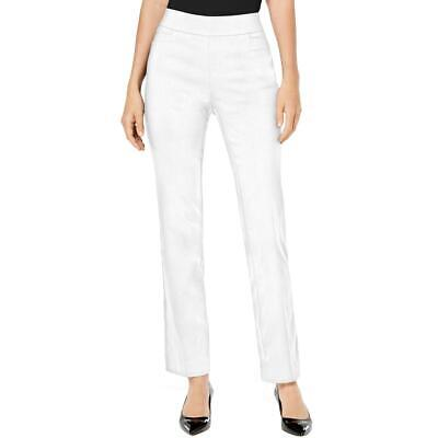 JM Collection Womens White Slimming Pull On Straight Leg Pants L Short BHFO 2349
