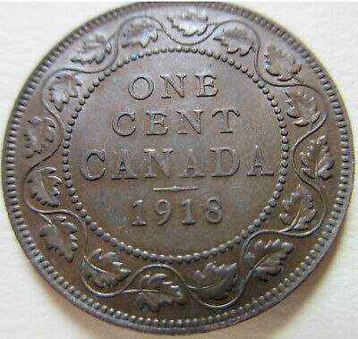 1918 Canada Large Cent Coin. 1 Penny NICE GRADE (C443)