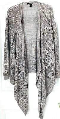 DKNY Jeans Women Size M Gray Metallic Long Sleeve Open Front Knit Cardigan