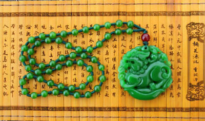 """Chinese green jade hand carving """"China Dragon"""" Good luck necklace pendant"""