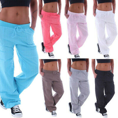 Womens Yoga Pants Flare Leg Fold Over Waist Bootcut Gym Workout Plus Size Cotton