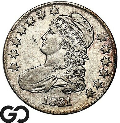 1831 Capped Bust Half Dollar, Choice AU++ Early Silver 50c ** Free Shipping