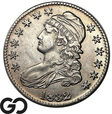 1832 Capped Bust Half Dollar, Nice Mint Luster, Choice AU+ Silver 50c!
